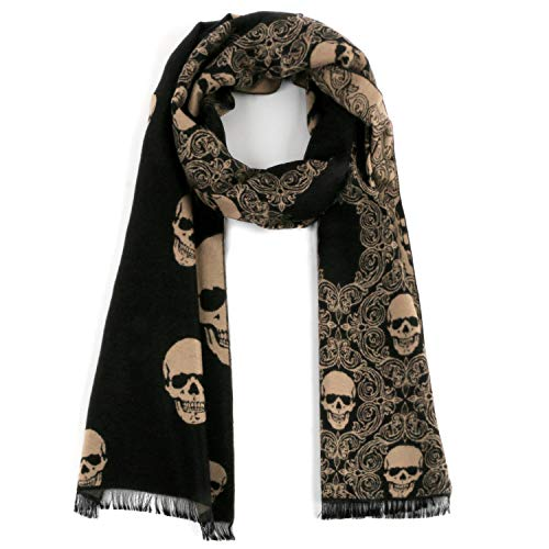 (Landisun Skull Scarf Shawl Soft Long Elegant Classical Tassels (Camel Color)