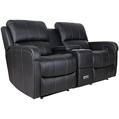 Attraction Design PU Leather Sofa Loveseat Black