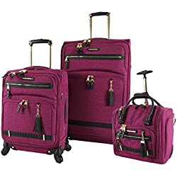 Steve Madden Luggage 3 Piece Softside Spinner Suitcase Set Collection (Peek-A-Boo Purple)