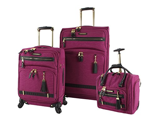 - Steve Madden Luggage 3 Piece Softside Spinner Suitcase Set Collection (Peek-A-Boo Purple)