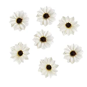 silk flowers in bulk wholesale Rose Artificial Silk Daisy Rose Flowers Wall Heads for Home Wedding Decoration DIY Wreath Accessories Craft Fake Flower 80Pcs 5cm (White)