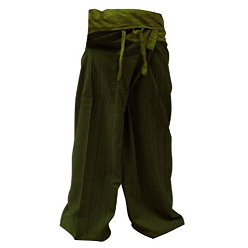 2 Tone Thai Fisherman Pants Yoga Trousers Free Size, Dark Green/ Green (Ladies Police Tie Front Shirt)