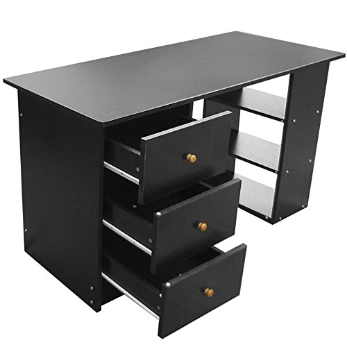 black office table. Tinxs HOME OFFICE COMPUTER DESK TABLE + 3 DRAWERS \u0026 SHELVES BLACK - WORKSTATION DESKS: Amazon.co.uk: Office Products Black Table A