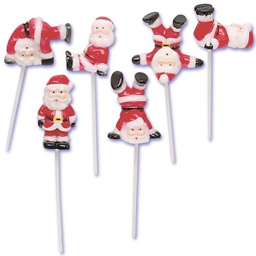 Tumbling Santa Claus Christmas Cupcake Picks - 6 ct