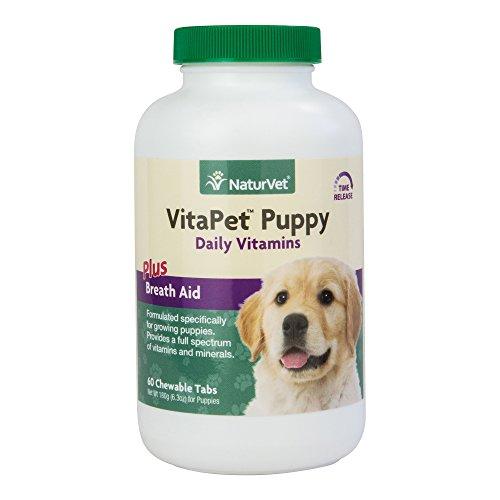 NaturVet VitaPet Puppy Daily Vitamins Plus Breath Aid for Puppies, 60 ct Time Release, Chewable Tablets, Made in USA