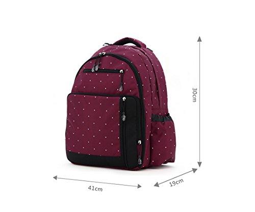 Aivtalk Bolso Maternal Mochila Multifunción Cambiador de Pañales Backpack para Carro Carrito de Bebé Biberón Botella Comida Viaje 30cm(L) x 19cm(W) x 41cm(H) - Floral Lunares Burdeos Lunares