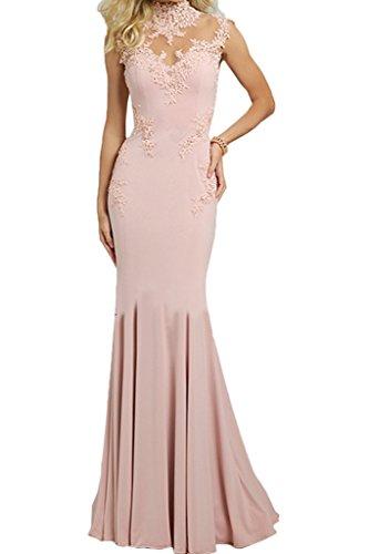 Applikation Ivydressing Promkleid Stehkragen Festkleid Abendkleid Damen Rosa Mermaid Elegant Partykleid qOwO6Tfn