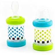 Sassy Baby Food Nurser – 6+ Months Set of 2-4oz 100% Silicone Nipple and Spoon Helps Introduce New Foods As Puree Or Cereal BPA-Free and Top-Rack Dishwasher Safe