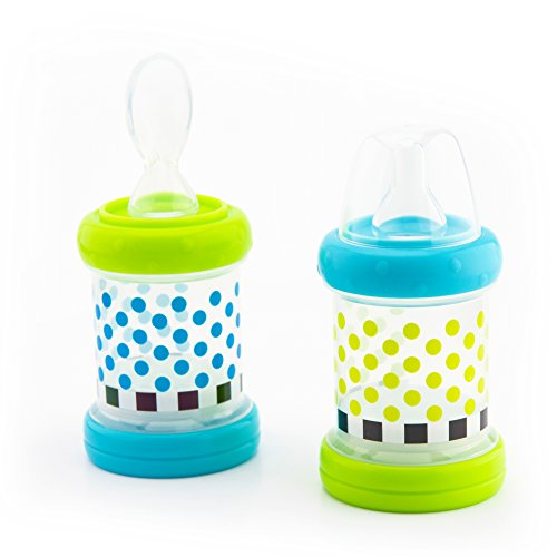 Sassy Baby Food Nurser – 6+ Months Set of 2-4oz 100% Silicone Nipple and Spoon Helps Introduce New Foods As Puree Or Cereal BPA-Free and Top-Rack Dishwasher Safe from Sassy