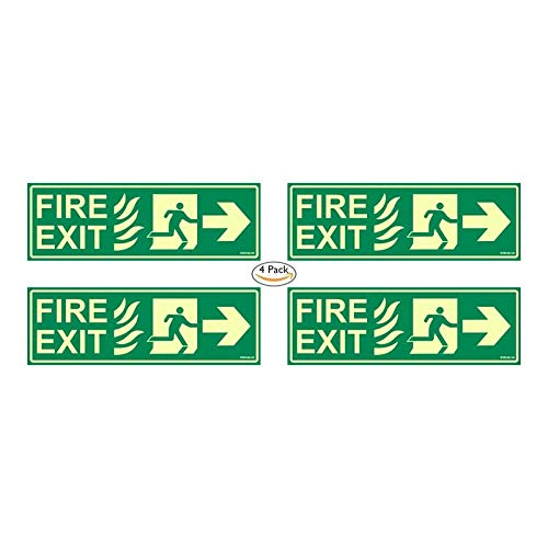 CLICKFORSIGN Glow in Dark Fire Exit Signboard right Arrow, 300 x 100 mm Pack of 4 Price & Reviews
