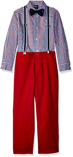 Nautica Boys' Toddler Set with Shirt, Pant, Suspenders, and Bow Tie, Red Tango Check, 3T