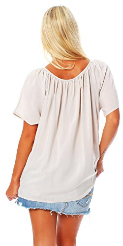 ZARMEXX Fashion - Camisas - Túnica - Básico - Cuello redondo - para mujer Beige