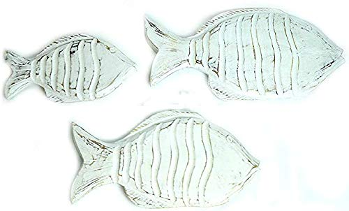 Beautiful Unique Set of 3 White Nautical School of Fish Wood Wall Art