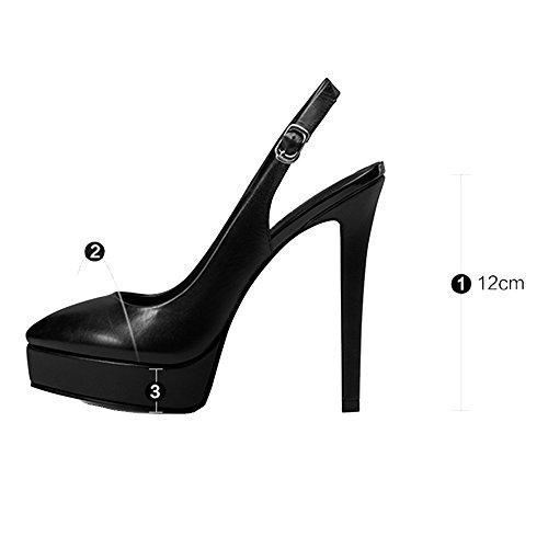 acentuado Nuevo 2018 cuero Europa aérea Zapatos Femenino UK3 Color plataforma tacón con alto de y LHA alto Primavera 2 de la de tacón Tamaño Estados sandalias 5 CN Zapatos 1 EU36 los fino Unidos WI0Y8