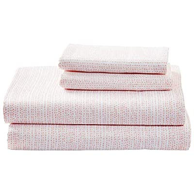 Amazon Brand – Rivet Half Moon Sateen 100% Cotton Bed Sheet Set, King, Peach-Pink/White - From their satin-like feel and subtle sheen to their abstract pattern, these sateen cotton sheets are ready to envelop you in modern style and texture. Soft and lightweight, they will blend well in a modern or industrial setting. 100% Cotton Imported - sheet-sets, bedroom-sheets-comforters, bedroom - 41oUjI6ZmgL. SS400  -