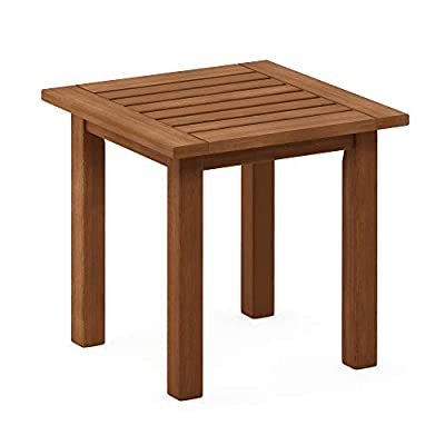 Furinno FG18506 Tioman Hardwood Patio Furniture Outdoor End Table, Natural - Simple design end Table Great for use in garden, balcony or patio Dark Red meranti wood treated with teak oil: more durable and water resistant. Easy assembly with instruction and tools provided - patio-tables, patio-furniture, patio - 41oUjZ2bGVL. SS400  -