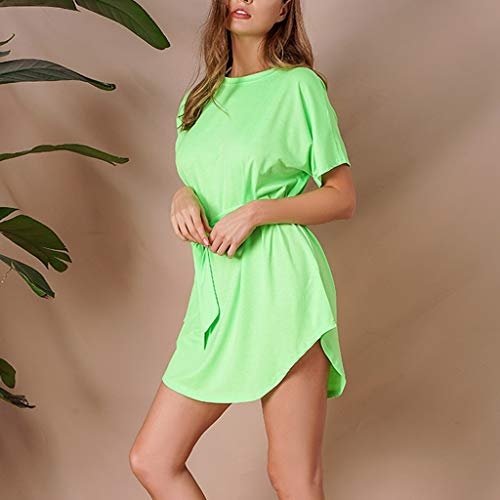 LIM/&Shop Women Mini Dress Casual Top Short Sleeves Crew Neck Plus Size T-Shirt Skater Dress Bandage Irregular Shirt