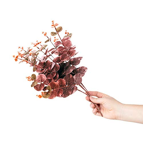 Artificial Eucalyptus Leaves Greenery Garland | 2 Pcs Vines with 16 stems each |Silver Dollar Silk Leaf|Fake floral Flower Spray|19.5 tall for Faux Floral Arrangement Wedding Decor (Red/Brown)