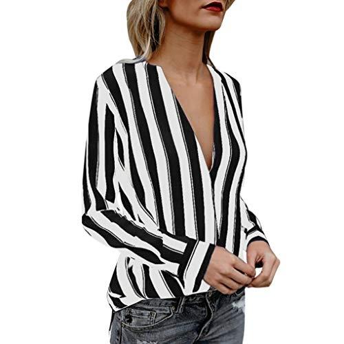 (Women Blouse Sexy Deep V Neck Striped Fashion Tops Casual Shirts Auutmn Winter Pullover (XL, Black))