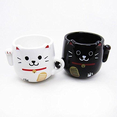 Chat Couple Manekineko, Porte-Bonheur Paire Mug Set, Ensembles de Mugs 2 Yunomi Mug, Tasses en provenance du Japon LF-0958 YOU&I