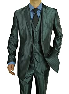 B00IB262ZQ Darya Trading Modern Fit 2 Button Three Piece Men's Suit with Vest (42 Short US / 36 Waist US, Blue With Charcoal Stripe)