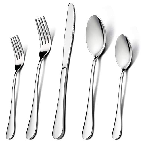 - 60-Piece Silverware Flatware Set for 12, LIANYU Stainless Steel Cutlery Eating Utensils Set, Kitchen Restaurant Party Tableware, Mirror Finished, Dishwasher Safe