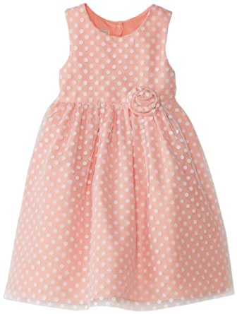 Marmellata Little Girls' Dress with White Flocked Dot Overlay, Coral, 2T