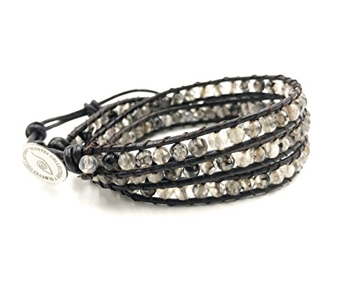 BLUEYES COLLECTION 3 Wrap Leather Bracelet -Desert Day- Faceted Cut Agate 4mm Bead (Beaded Wrap Bracelet)
