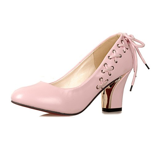 VogueZone009 Womens Closed Round Toe High Heel Soft Material PU Solid Pumps with Bandage and Red Bottom Pink BQUuzt5Eq