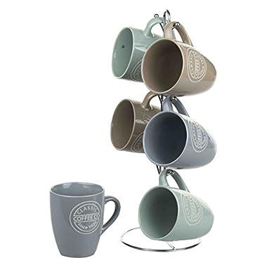 Home Basics Mug Set with Stand Coffee, 6 Piece