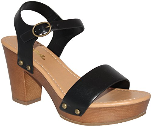 - SODA Women's Bold Buckles Studded Wedge Sandal,Black Pu,7.5