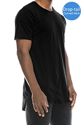 JC DISTRO Mens Hipster Hip Hop Cotton Elong Crewneck T-Shirt Black XXXLarge by JC DISTRO