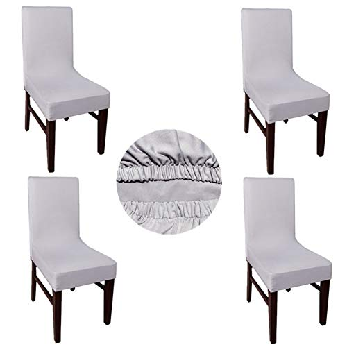 Tong Hao Chair Slipcovers Stretch Removable Washable Dining Chair Covers Polyester for Kitchen Bar Hotel and Wedding 4PCS Silver Gray