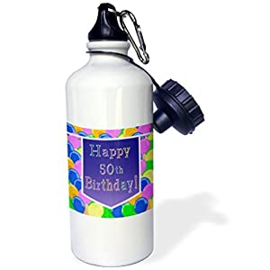 Balloons With Purple Banner Happy 50Th Birthday Sports Water Bottle Stainless Steel Water Bottle for Women Men Kids