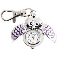 Kanggest Cute Owl Alloy Round Keychain Watches Pocket Animal Quartz Watch Key Ring Chain Clip Pendant