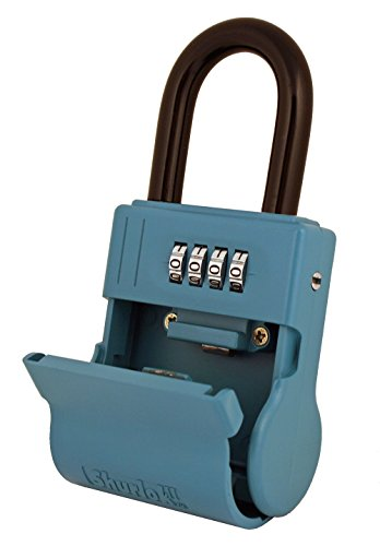ShurLok SL-600W 4 Dial Numbered Key Storage Combination Lock Box, Blue