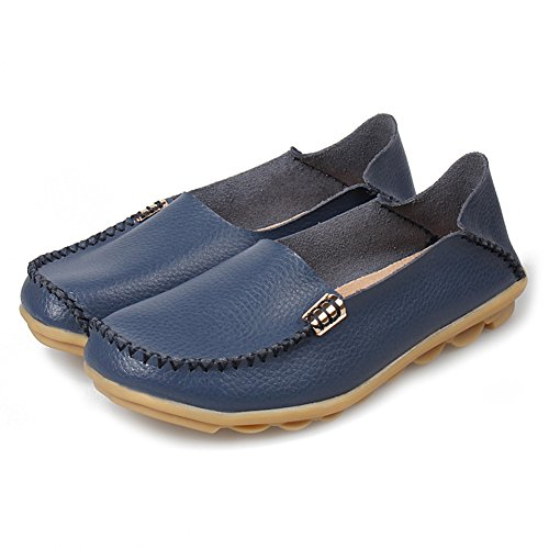 Fung-wong Women Slip On Loafers Flat Shoes 2.dark Blue dfNmZ