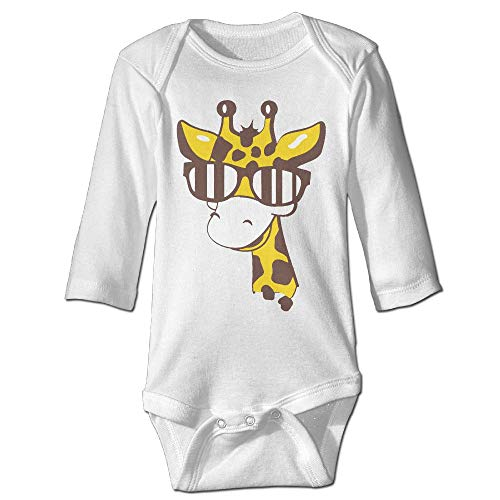 Printed A Giraffe Sunglasses Funny Unisex Baby Long Sleeves Bodysuit Jumpsuit Outfits
