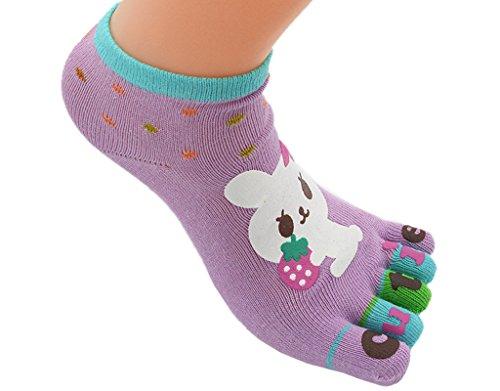 BONAMART ® 1 Pack Kids Girls Boys Split 5 Toes Crew Toe Cartoon Socks 5-8 Years Old
