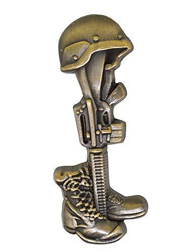 PinMart Final Tribute Battle Cross Fallen Soldier Gold Lapel Pin