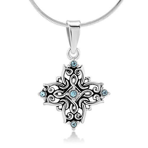 Chuvora Sterling Silver Aqua Crystal Filigree Quaternary Mandala Witchknot Goddess Necklace 18