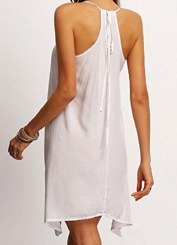 Coolred Hem Sleeveless Dress Women Patterned Fashional Halter Slim Casual Beach Various White rr80q