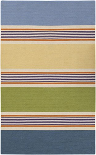 3.5' x 5.5' Rayas De Verano Blue, Lime Green and Gold Hand Woven Wool Area Throw Rug