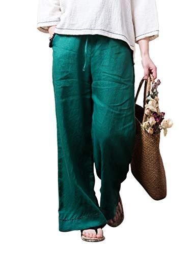 Besbomig Larga Donna Cotone Chi Gamba Sciolto Per Uomo Casuale Estate Biancheria Yoga Pantaloni Tai Verde Morbido Larghi rxqBOwzrY