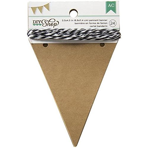 (American Crafts 366648 BANNERS 3.5 X 4.5 PENNANT KRAFT 24PC Multicolor)