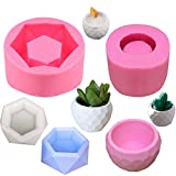 3D Handmade Hexagon Flower Pot Silicone Mold Ceramic Cement Clay Mold for DIY Succulent Plant ResinCandle Holder Wax Casting Soap Making, Set of 2