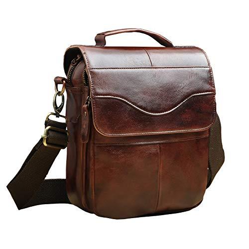 Le'aokuu Mens Genuine Leather Coffee Fanny Small Messenger Shoulder Satchel Waist Bag Pack (V 144 Burgundy) ()