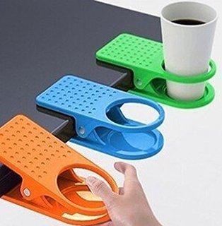 Wpeng 1 Pcs Desk Cup Drink Bottle Holder Table Clip Mug Stand with Strong Hold, Random Color Holders