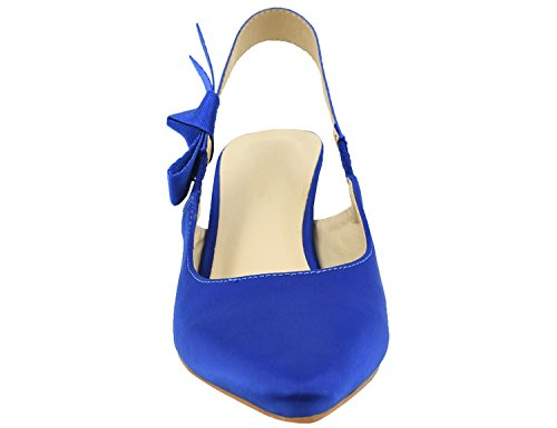 Greatonu Womens Slingback Dress Pump Blue Satin