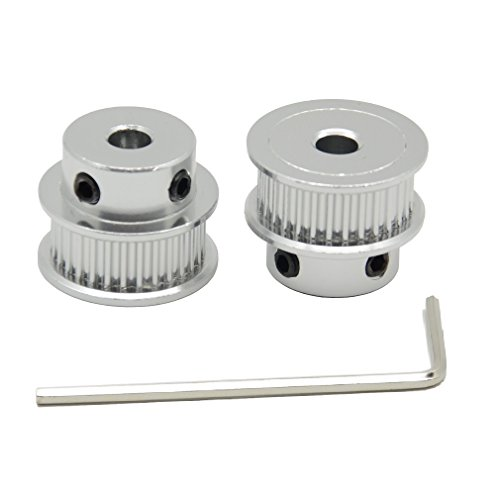 ReliaBot 2PCs Aluminum 2GT Timing Pulley 30 Teeth Bore 5mm for 3D Printer 6mm Width 2GT Timing Belt